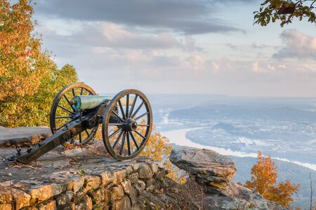 Chattanooga, Tennessee, USA view from Lookout Mountain at twilight. Stock Photo