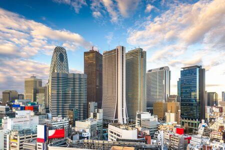 Shinjuku, Tokio, Japonia pejzaż dzielnicy finansowej. Zdjęcie Seryjne