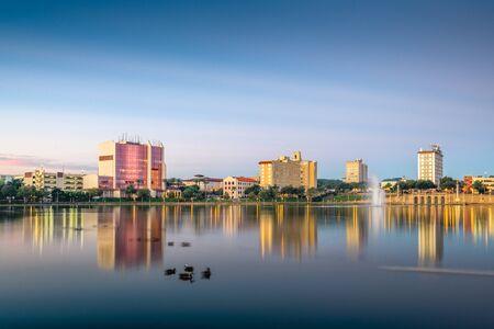 Lakeland, Florida, USA downtown cityscape on the lake at twilight.