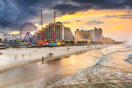 Daytona Beach, Florida, USA beachfront skyline at dusk.