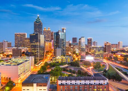Atlanta, Georgia, USA downtown cityscape from above at twilight.