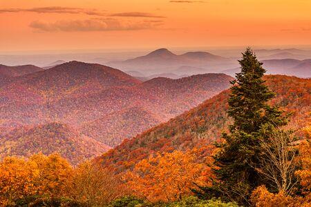 View from Brasstown Bald, Georgia, USA of the Blue Ridge Mountains in autumn at dusk.