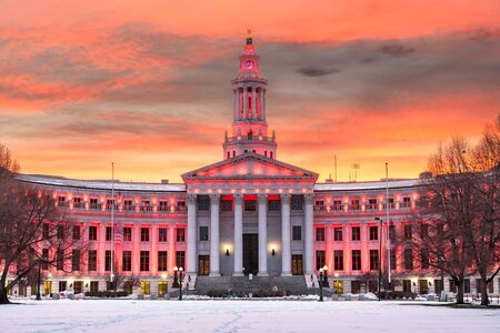 Denver, Colorado, USA city and county building at dusk in winter.
