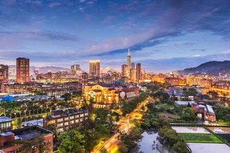Taipei, Taiwan skyline over National Taiwan University at dusk. Reklamní fotografie