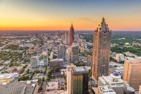 Atlanta, Georgia, USA downtown skyline at dusk. Banco de Imagens