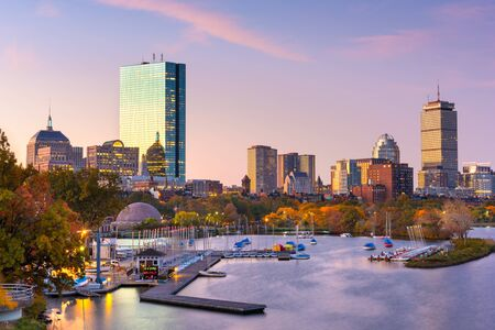 Boston, Massachusetts, USA skyline on the Charles River at dawn. Stok Fotoğraf