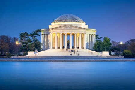 Washington DC, USA on the Tidal Basin with Jefferson Memorial at night.