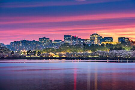 View of Rosslyn, Arlington, Virginia, USA from the tidal basin in Washington DC at dusk during spring season.