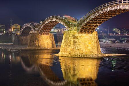 Iwakuni, Hiroshima, Japan at Kintaikyo Bridge at night.