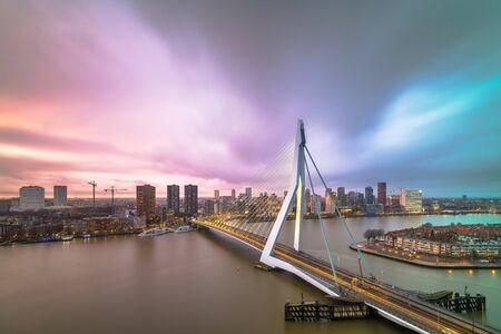 Rotterdam, Netherlands, city skyline at twilight.