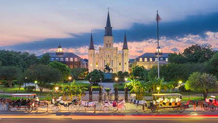 New Orleans, Louisiana, USA view at Jackson Square at night.