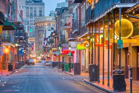 Bourbon St, New Orleans, Louisiana, USA cityscape of bars and restaurants at twilight. Stock Photo