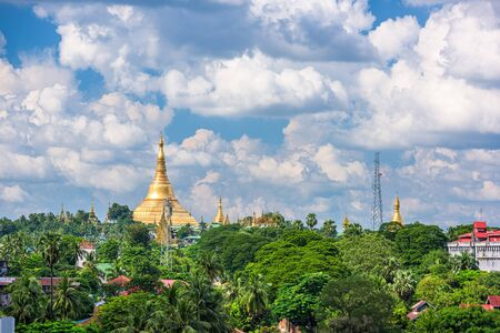 Yangon, Myanmar skyline with Shwedagon Pagoda in the afternoon. Stok Fotoğraf