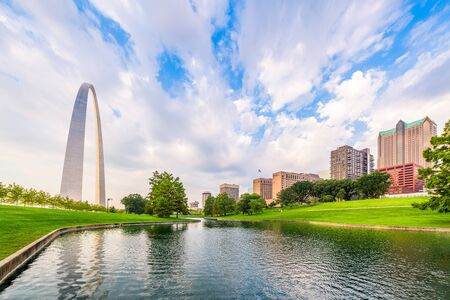 St. Louis, Missouri, USA park view in the morning. Stock Photo