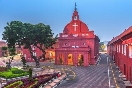 Christ Church Melaka in Malacca, Malaysia at twilight.