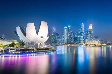 Singapore skyline at the Marina during twilight. Editorial