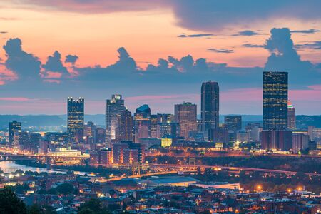 Pittsburgh, Pennsylvania, USA skyline from the South Side at dusk.