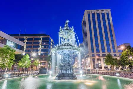 Montgomery, Alabama, USA fountain and downtown cityscape at twilight. Stok Fotoğraf