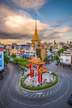 Bangkok, Thailand at Chinatown's traffic circle and Wat Traimit. (Gate reads