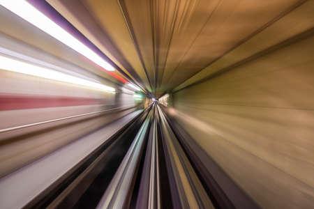 Underground tunnel motion blur view.
