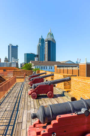 Mobile, Alabama, USA skyline and fort.