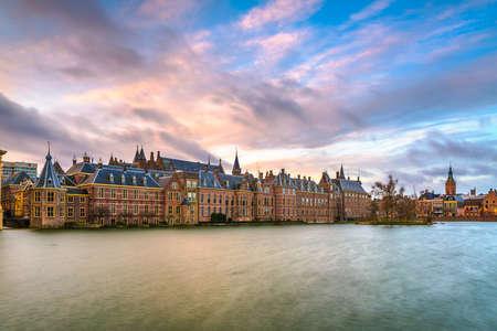 The Hague, Netherlands morning skyline at the Binnenhof complex. Standard-Bild