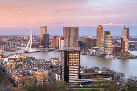 Rotterdam, Netherlands, city skyline over the Nieuwe Maas River at twilight. Stok Fotoğraf