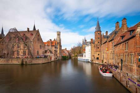 Bruges, Belgium scene on the Rozenhoedkaai River.