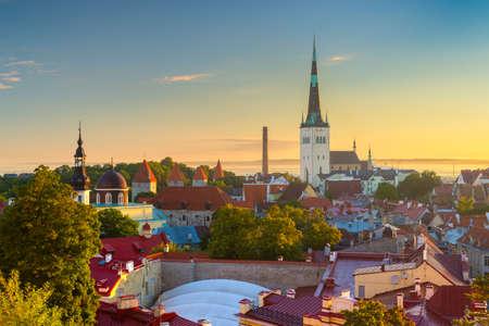 Tallinn, Estonia old city skyline at dawn.