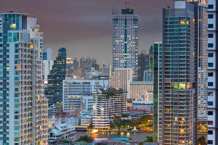 Bangkok, Thailand Dense Downtown Cityscape at Dusk