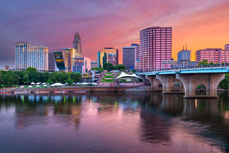 Hartford, Connecticut, USA Downtown and River at Dusk