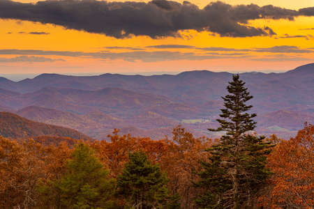 Blue Ridge Mountains at Sunset in North Georgia Banco de Imagens - 151094261