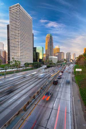 Los Angeles, California, USA Downtown Skyline and Highways Standard-Bild