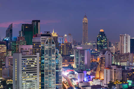 Bangkok, Thailand dense cityscape from above at dusk.