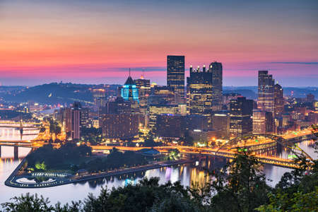 Pittsburgh, Pennsylvania, USA Downtown Cityscape at the Point