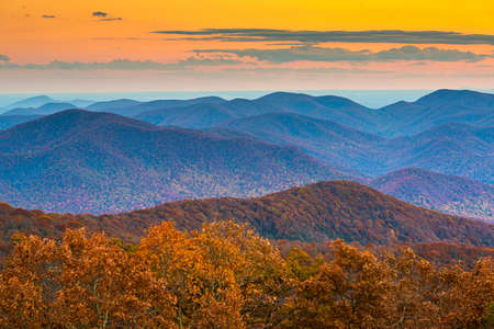 Blue Ridge Mountains at Sunset in North Georgia Banco de Imagens - 151096225