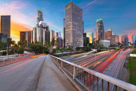 Los Angeles, California, USA Downtown Skyline and Highways Stok Fotoğraf