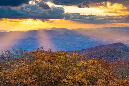 Blue Ridge Mountains at Sunset in North Georgia Banco de Imagens - 151096226