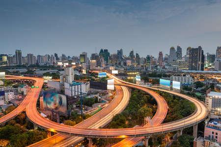 Bangkok, Thailand Cityscape at Dusk with Highways