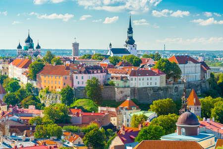 Tallinn, Estonia Historic Skyline of Toompea Hill.
