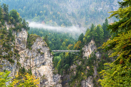 Marienbrucke (Mary's Bridge), situated above Pollat gorge in Schwangau, Germany as viewed from Neuschwanstein Castle.