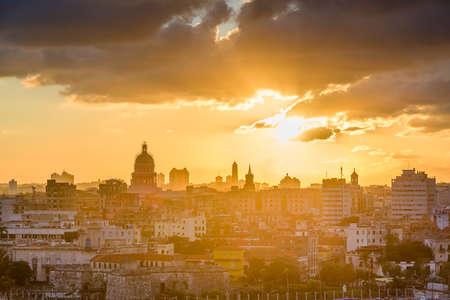 Havana, Cuba downtown skyline at sunset.