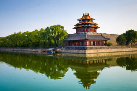 Beijing, China from the Forbidden City outer moat at dawn. Редакционное