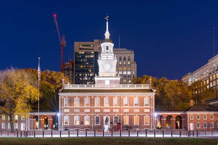 Philadelphia, Pennsylvania, USA at Independence Hall during the evening.