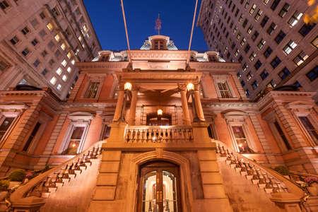 Philadelphia, Pennsylvania, USA historic street architecture at night.