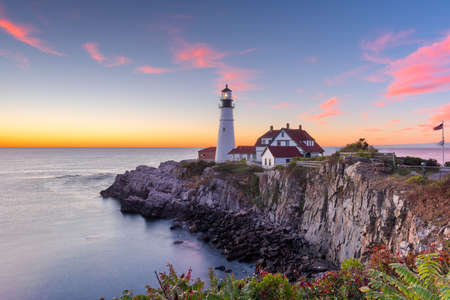 Portland, Maine, USA at Portland Head Light in the morning. Stock Photo