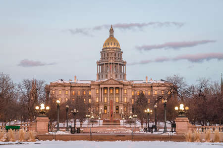 Denver, Colorado, USA at the Colorado State Capitol during a winters night. Stock Photo