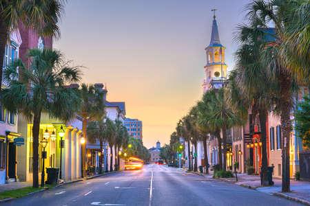Charleston, South Carolina, USA in the French Quarter at twilight.