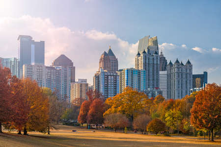 Atlanta, Georgia, USA midtown skyline from Piedmont Park in autumn in the afternoon. Stok Fotoğraf