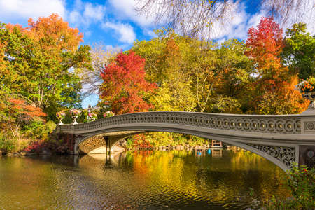 Central Park, New York City, USA at the Lake in autumn season.